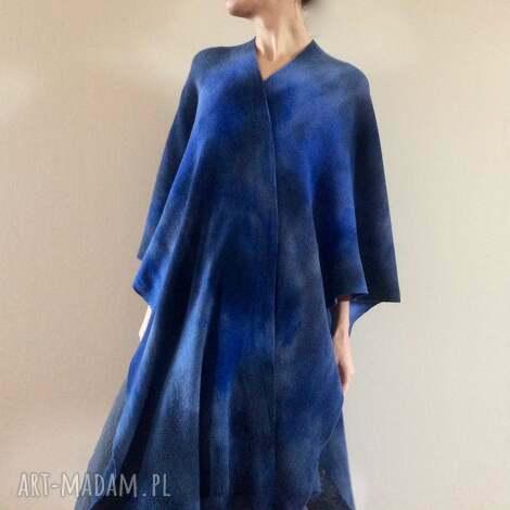 wełniany kardigan ponczo atramentowy kimono, płaszcz, sweter