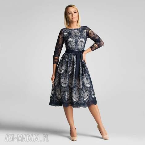 sukienki sukienka tina 3/4 midi josefina podkład ecru, elegancka