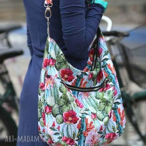 na ramię kolorowa torba kaktusy kwiaty kolorowe wzory, kaktusy, torebka w