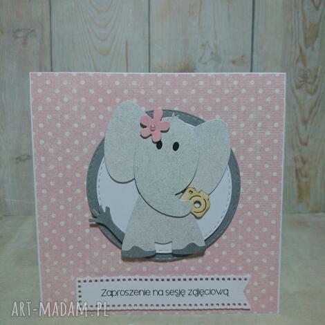 zaproszenie kartka mimnimalny słonik, chrzest, urodziny narodziny sesja