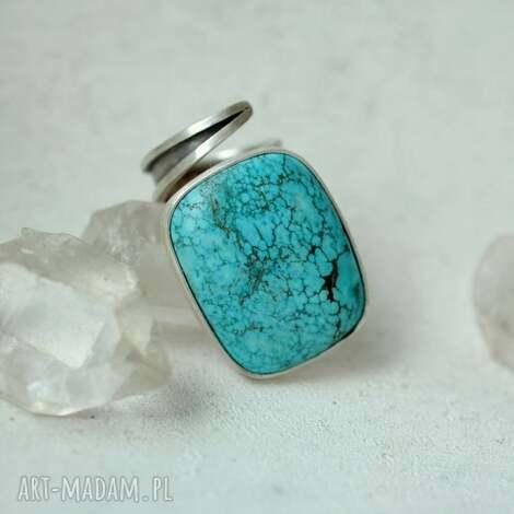 pierścień z azurytem, pierścień, srebro, azuryt, prezent, minerały, regulowany