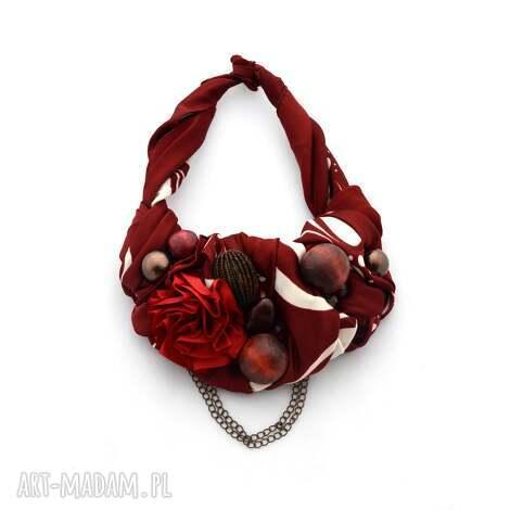 bordo naszyjnik handmade - naszyjnik, kolia, bordo, bordowy, czerwony