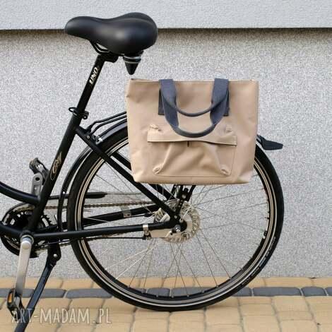 torba rowerowa romania beż, rower, torba, praca, zakupy, handmade, prezent na ramię