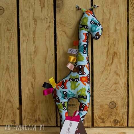 granatowa mięciutka żyrafka - minky z bawełną w szopy, żyrafa, minky, bawełna