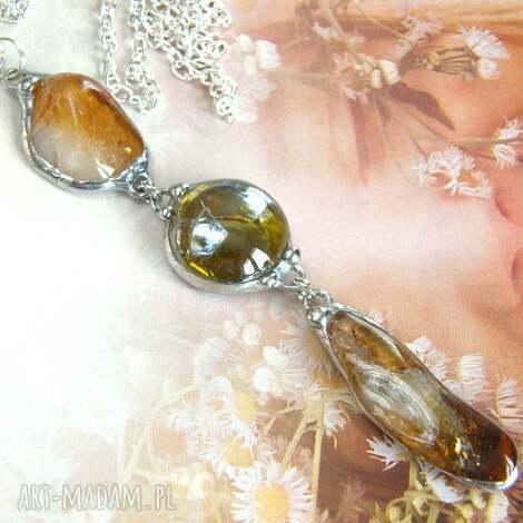 wisior chwost z łańcuszkiem: miodowy cytryn i zieleń, długi naszyjnik