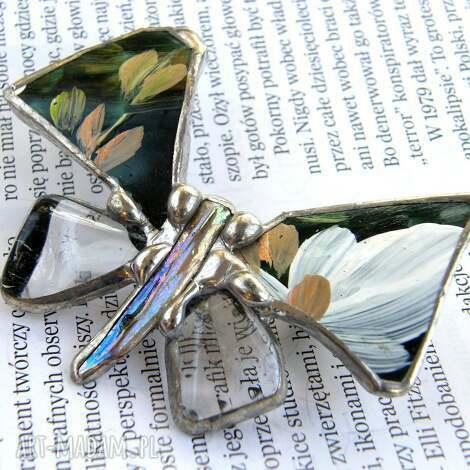broszka motyl malowany z kryształem górskim - broszka, motyl, malowana