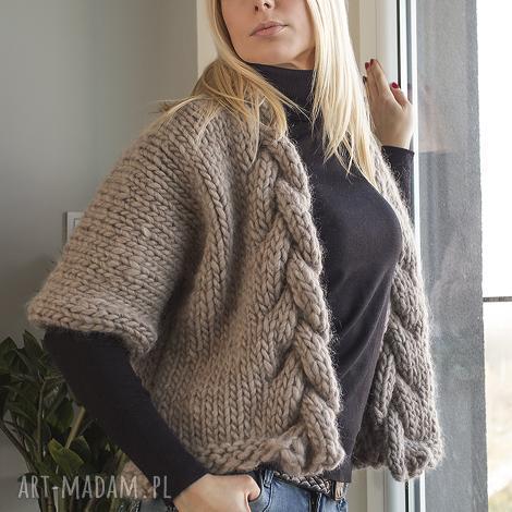 swetry wełniany warkocz, wełna, sweter, niezapinany, beżowy