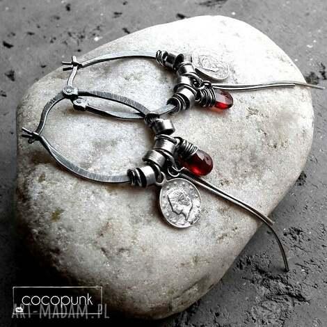 srebro i granaty- kolczyki boho, bordowe, wiszące, srebrne, nowoczesne