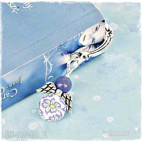 kwiecisty aniołek w fiolecie - zakładka, książka, anioł, prezent, mikołaj