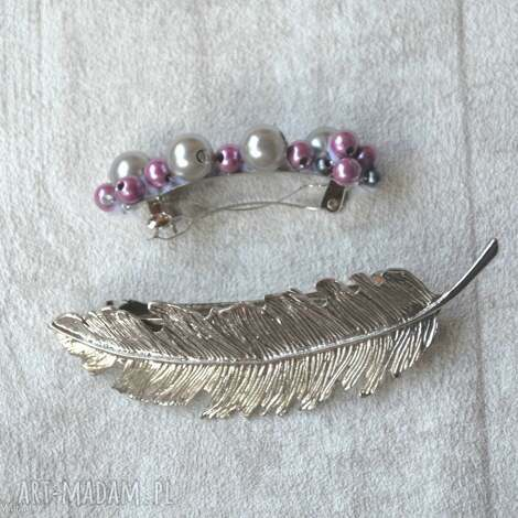różowa spinka, róż, fuksja, srebro, szary, perła