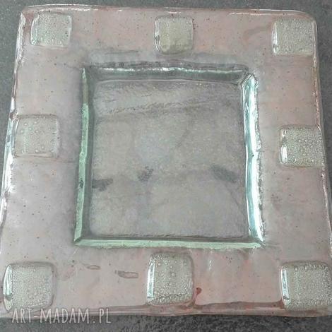 szklana patera w technice fusingu kameleon, szkło, patery, ręcznie wykonane