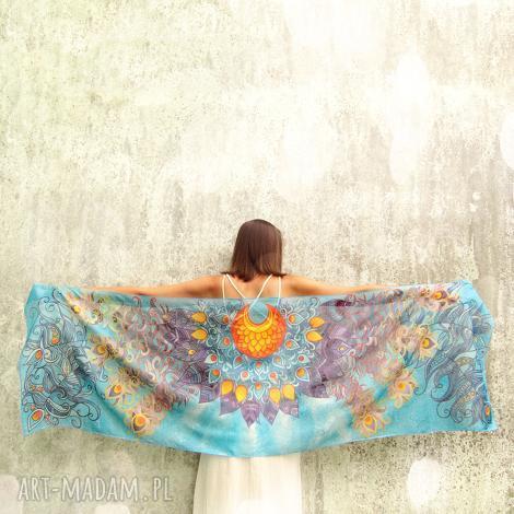 duży szal jedwabny ręcznie malowany skrzydła, jedwab malowany, pióra szal