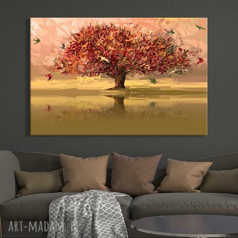obraz do salonu drukowany na płótnie z drzewem, drzewo origami 120x80cm 02479