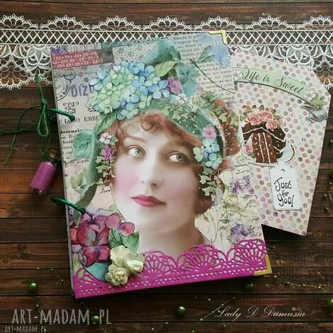 scrapbooking notesy notes/pamiętnik w stylu vintage/ dama z hortensją, pamiętnik