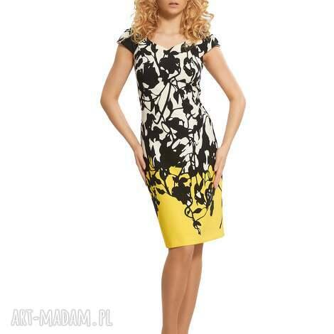sukienka czarno- biała z efektownym wzorem , wizytowa, elegancka, wzorzysta
