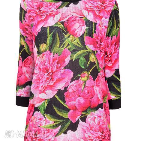 sweterek peonia s/m,l/xl, kwiaty, peonie, print, nadruk, dzianina swetry