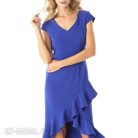 sukienka z dłuższym tyłem naomi chabrowa, elegancka sukienka, koktajlowa