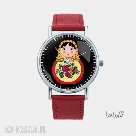 zegarki zegarek z grafiką matrioszka, lalka, pamiątka, podróż, rosja, folk, prezent