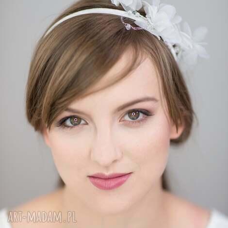 świąteczny prezent, biały kwiat, jedwab, biały, ślub ozdoby do włosów
