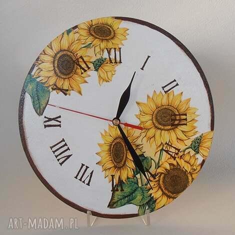 zegar w słoneczniki, zegar, decoupage, kuchnia zegary