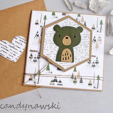 miś skandynawski - kartka na roczek, urodziny, miś, chrzciny, urodzinki