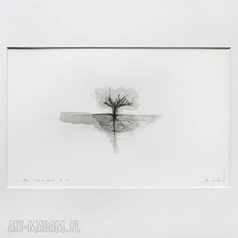 minimalistyczny pejzaż - nr 12 50x40cm, grafika czarno biała, tusz na papierze