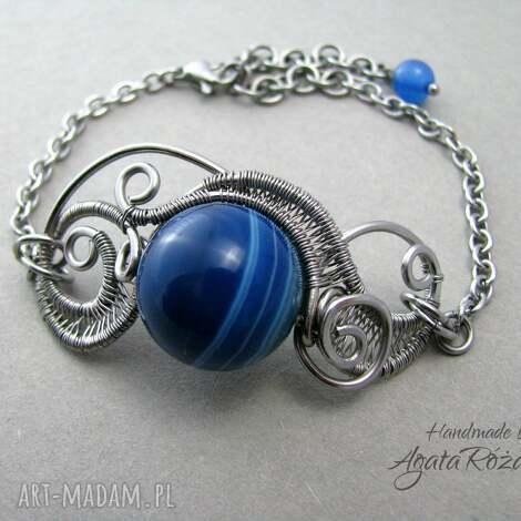agata rozanska bransoletka agat niebieski, stal chirurgiczna, wire wrapping