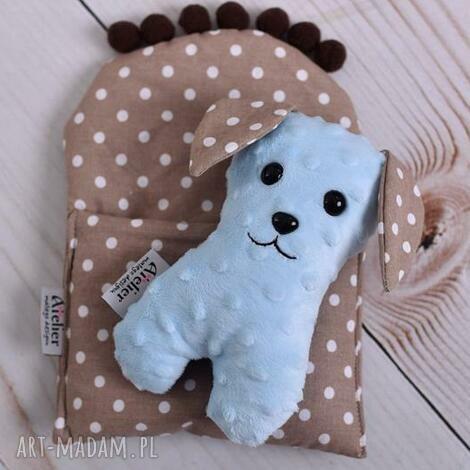 przytulanka dziecięca pies w beciku - pies-zabawka, pies-hand-made, zabawka-hand-made