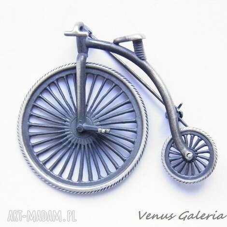 broszka srebrna - bicykl - rower, biżuteria srebro, broszki