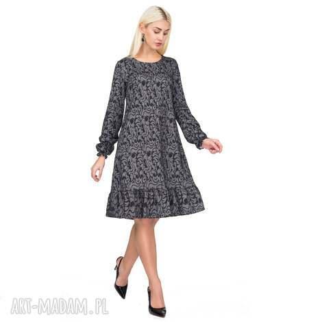 sukienki sukienka lina mini felicja, sukienka, falbanka, ornament, trapezowa