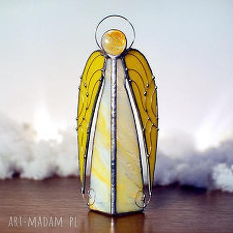 anioł uriel, dekoracje, lampion, rękodzieło, witraż, anioł