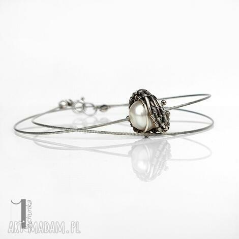 miechunka - bianca i - srebrny naszyjnik z perłą naturalną, naszyjnik srebrny, perła