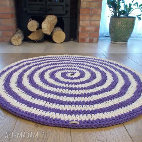 dywan zakręcony ze sznurka bawełnianego, szydełkowy, okrągły