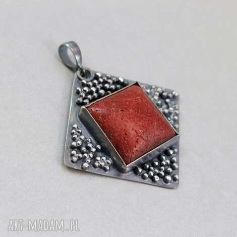 wisiorki czerwony koral i srebro - wisior, koral, czerwony, gąbczasty, srebro, wisior