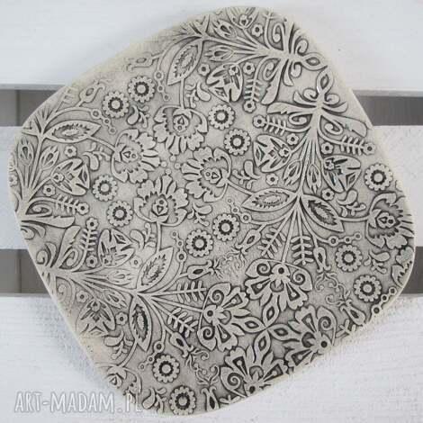 folkowy talerzyk, ceramiczny, dekoracyjny, podstawka, pod-świeczkę, na-łyżkę