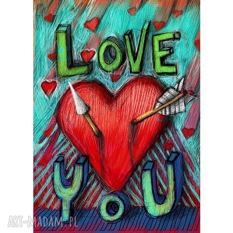 grafika plakat love you do samodzielnego wydruku, grafika, serce, walentynki, prezent