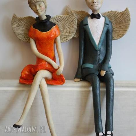ceramika anioły para siedząca 3, anioły, anioł, para