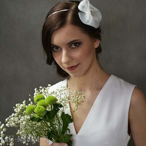 biały kwiat, opaska, biały