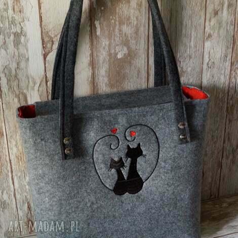 filcowa torba z haftem - zakochane koty, filcowa, torba, haft, torebka