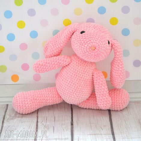maskotki szydełkowy króliczek z dedykacją różowy - duży, królik, zając