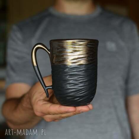 kubki kubek czarne złoto 325 ml, kubek, ceramiczny ceramika, złoty