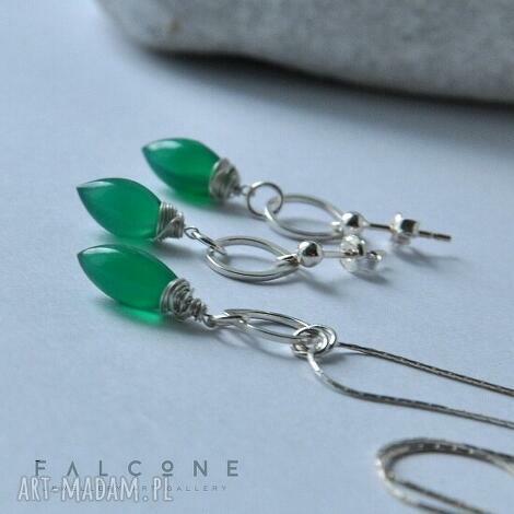green onyx - komplet, srebro, naszyjnik, kolczyki, onyks, szmaragdowy