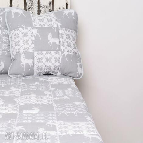 koce i narzuty narzuta grey deer 115x195cm patchwork, majunto