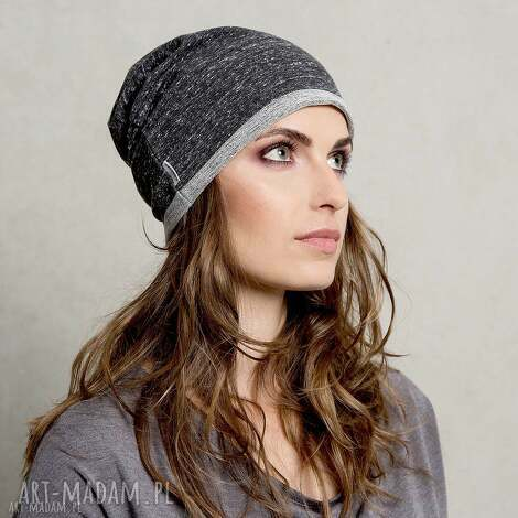 dzianinowa dresowa czapka gray anthracite - czapka, dresowa, szara, czarna