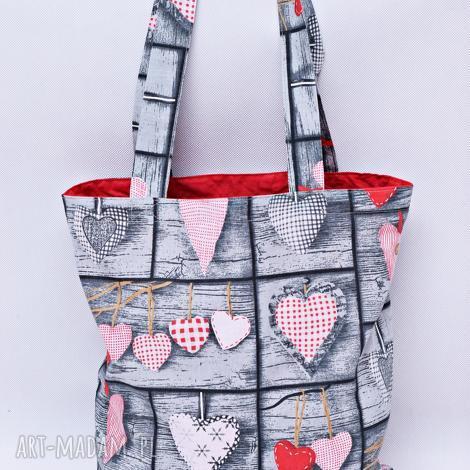 torba na zakupy szoperka serca retro czerwona podszewka, torba