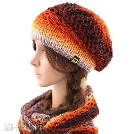 komplet ażurowy w pomarańczach, rudościach i brązach, komplet, czapka, beret, komin
