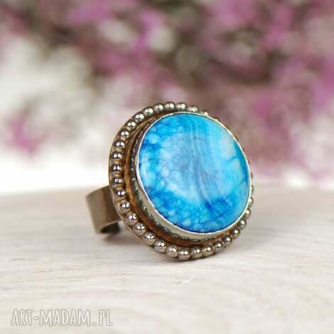 a600 srebrny pierścionek z niebieskim agatem - srebrny pierścionek, niebieski ze