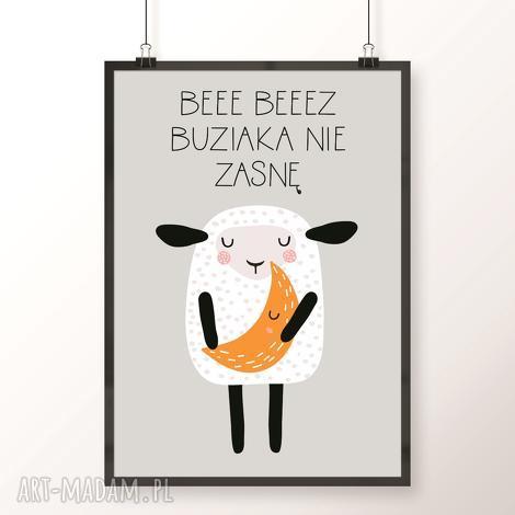 plakat bez buziaka nie zasnę, owca, owieczka, buziak musztardowy, księżyc