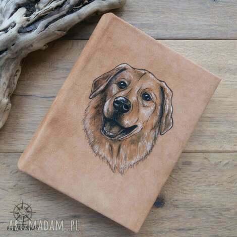 album na zdjęcia w naturalnej skórze, z ręcznie malowanym portretem psa - na