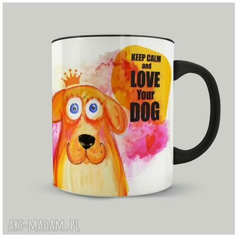 kubki kubek keep calm and love your dog, ilustracja, pies, piesio, prezent